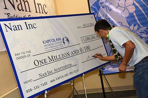Nan Inc gifts One Million to Kapi'olani Medical Center