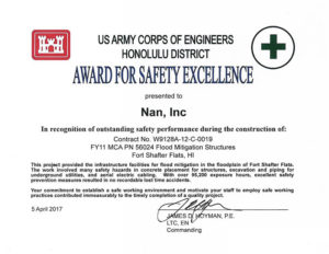 Nan Inc Hawaii Safety Excellence Award